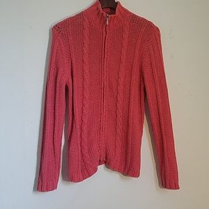 CHICOS' HEAVY CABLE KNIT SWEATER, SIZE 1.